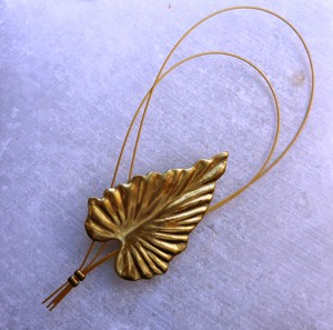 Unique handmade bronze brooch with leaf