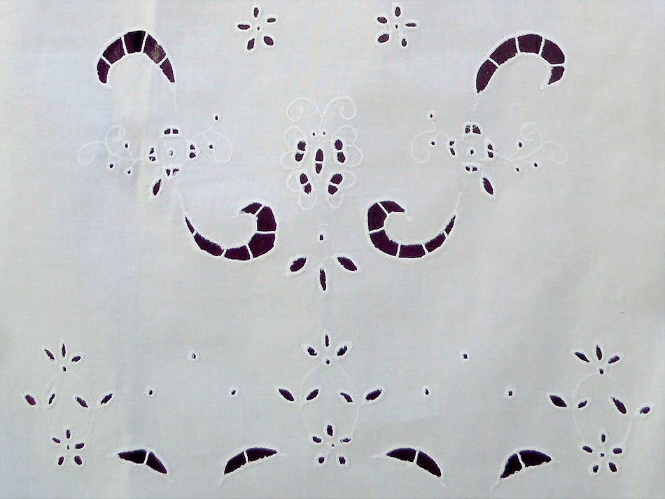 Beige greek traditional cutwork curtain-butterfly
