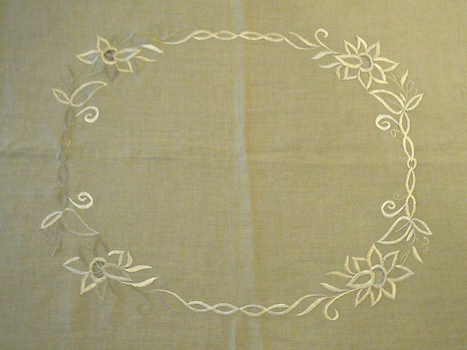 Beige linen tablecloth with embroidery