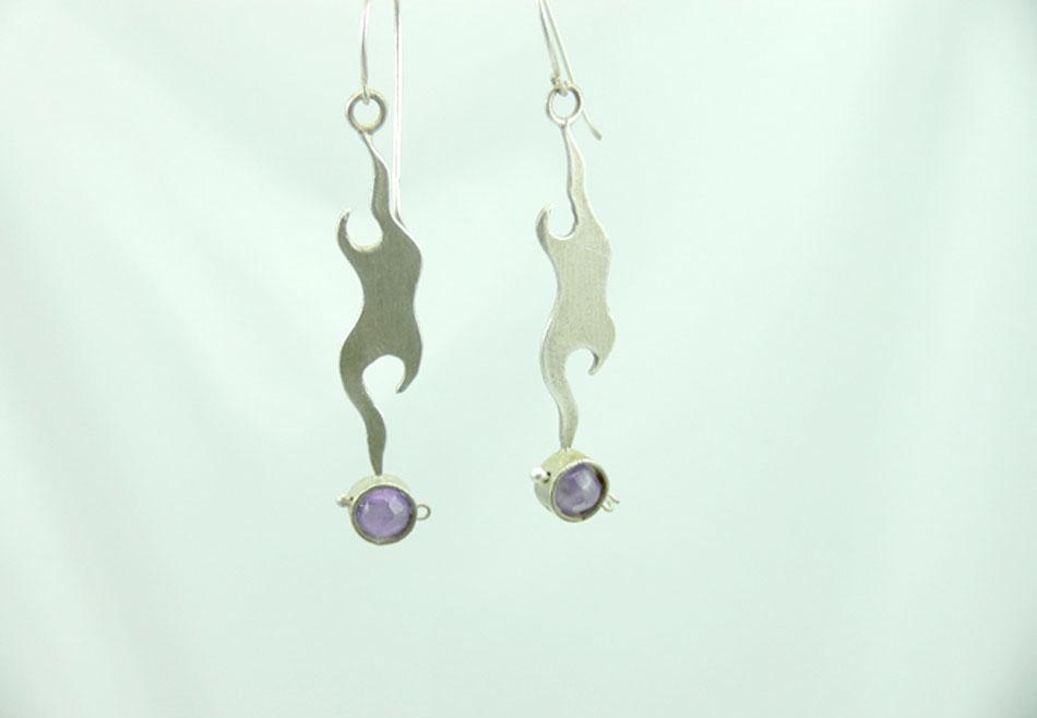 Handmade vintage earrings with amethyst