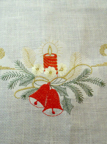 Christmas linen tablecloth with bells embroidery