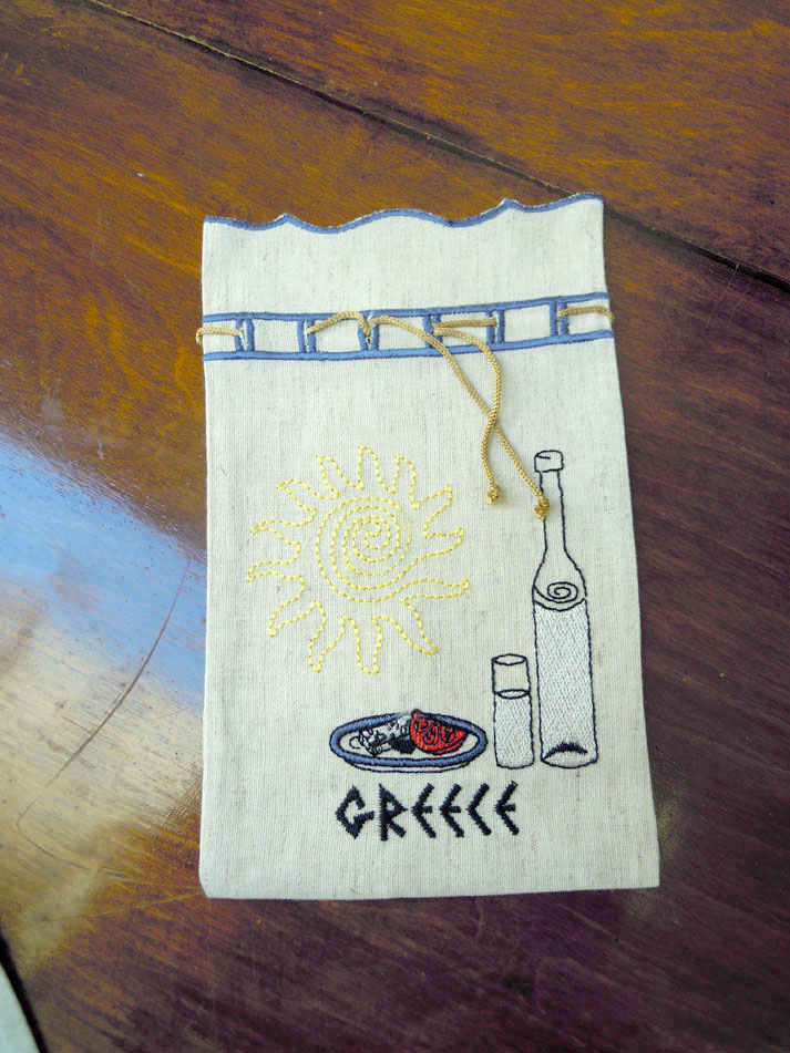 Embroidered pouch - ouzo bottle