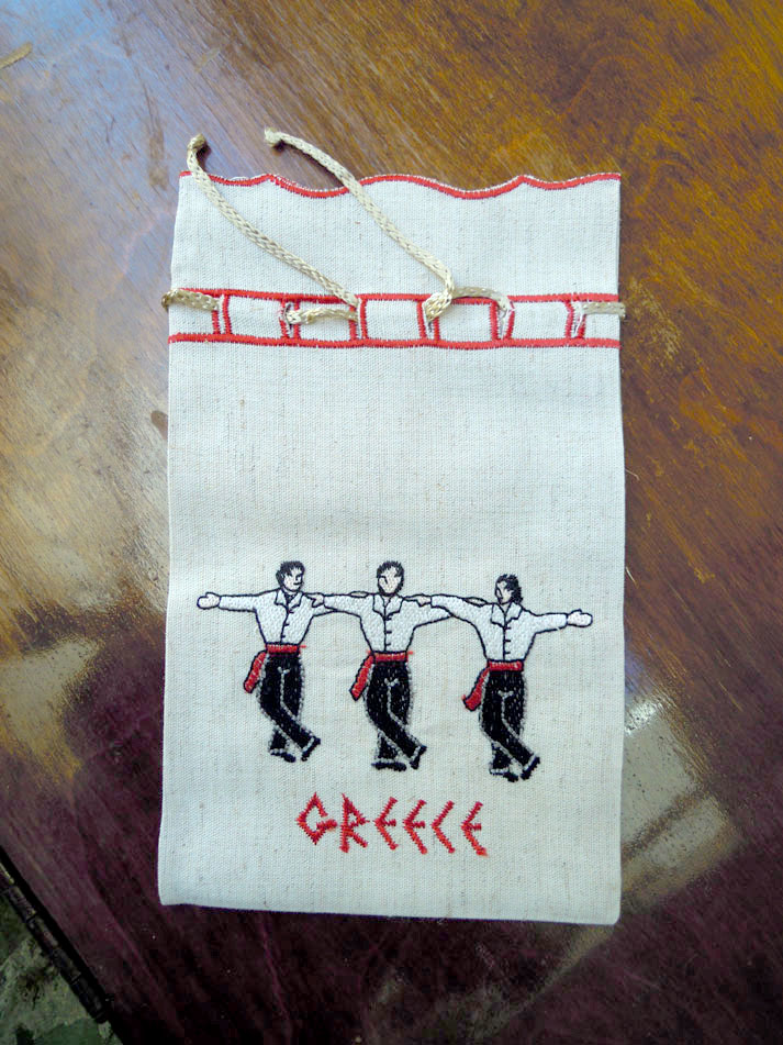 Embroidered pouch - three dancers