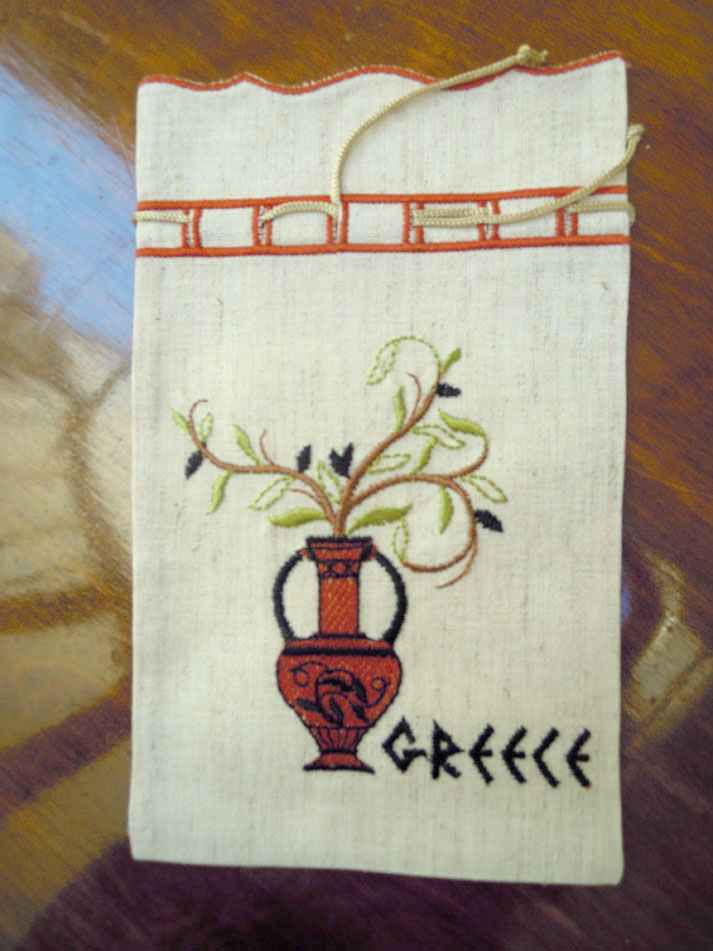 Embroidered pouch - amphora