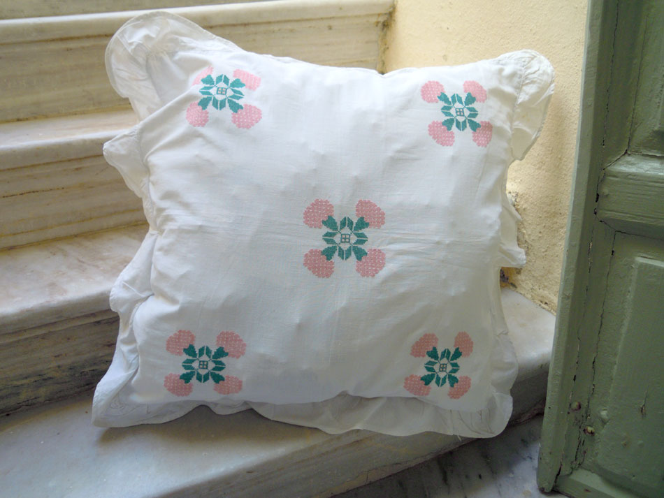Hand-embroidered cushion