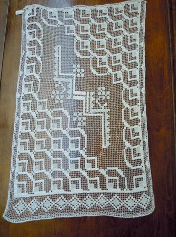 Vintage handmade crochet curtain