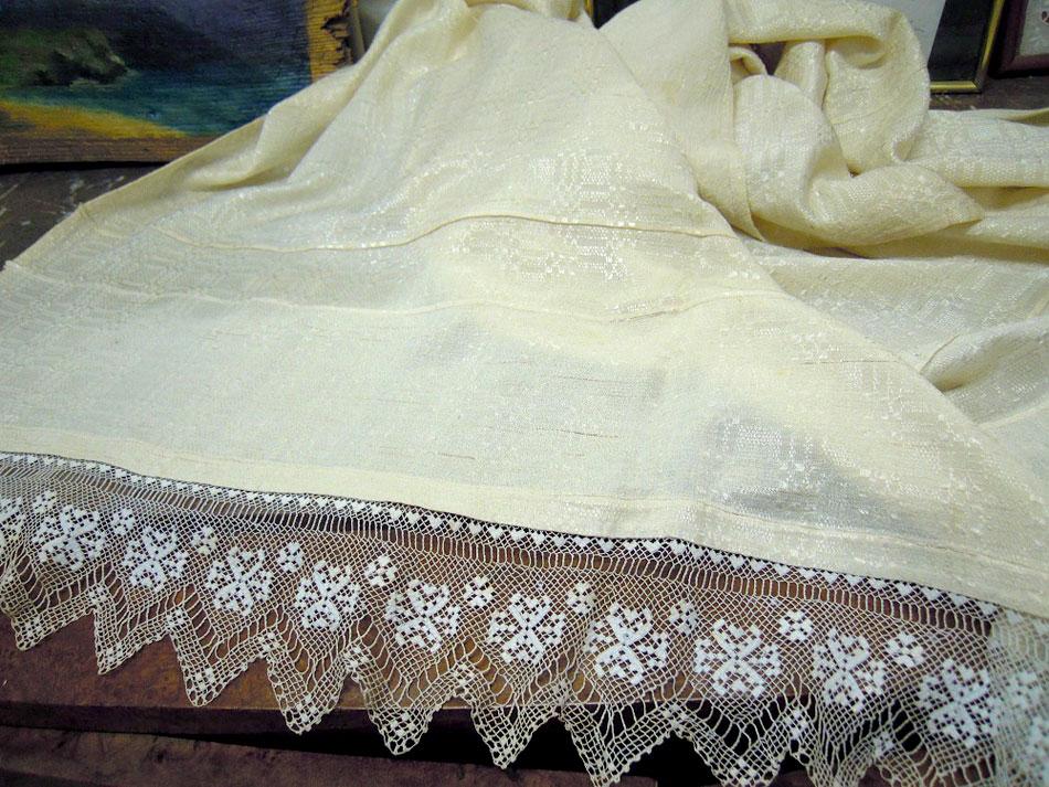 Vintage handwoven silk curtain