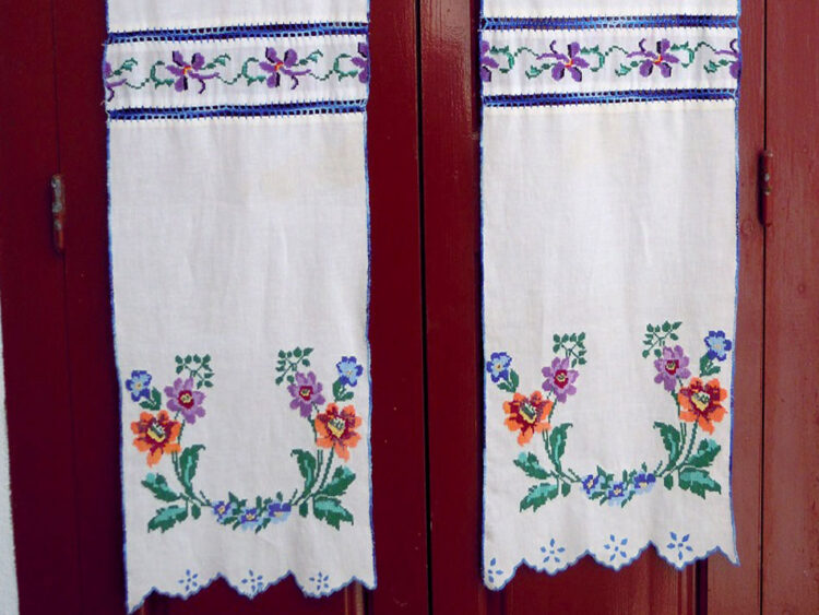 Vintage hand embroidered little curtains