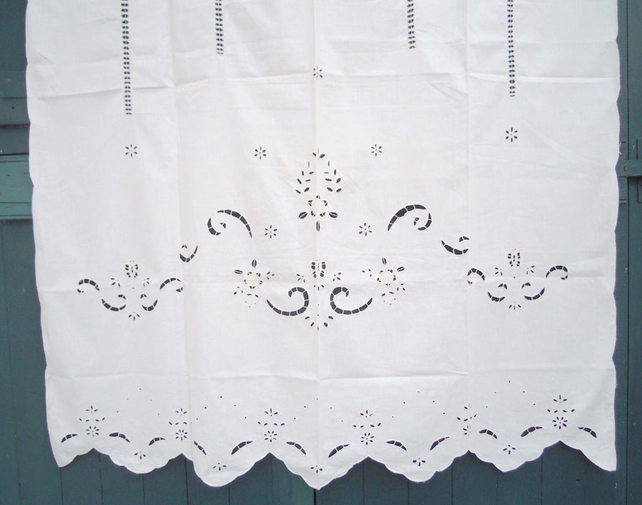 Beige traditional cutwork curtain with flowers