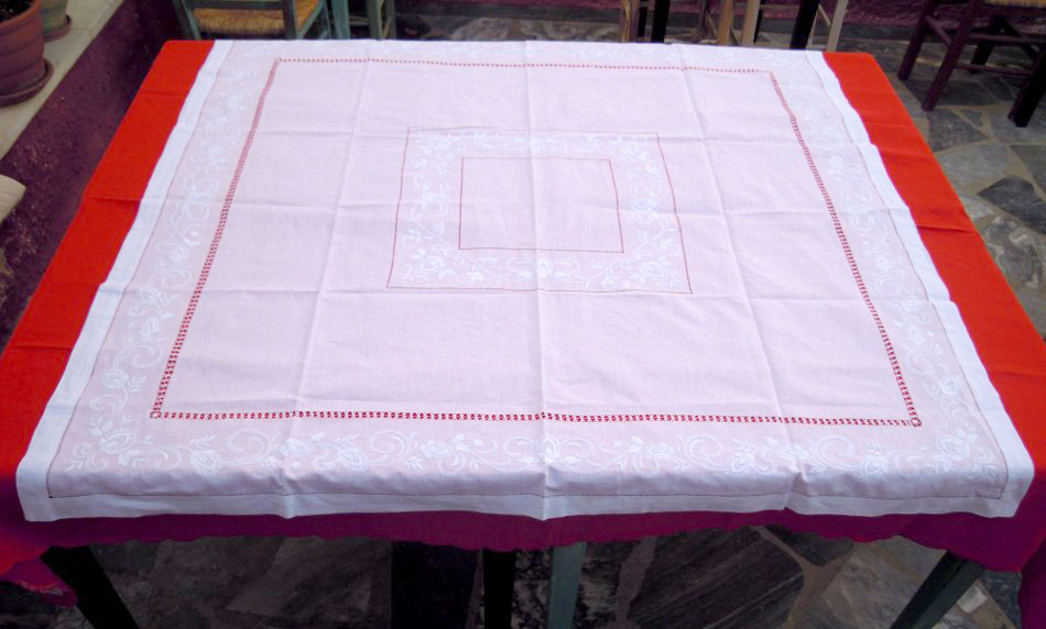 White linen tablecloth with azur and embroidery