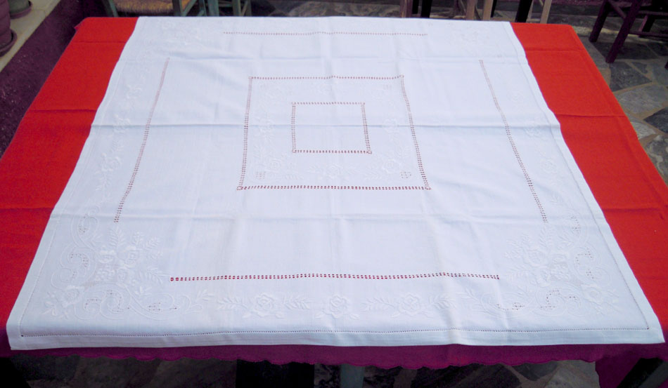 White tablecloth with handmade embroidery