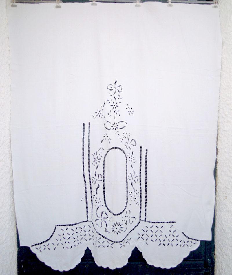 Vintage handmade cutwork curtains