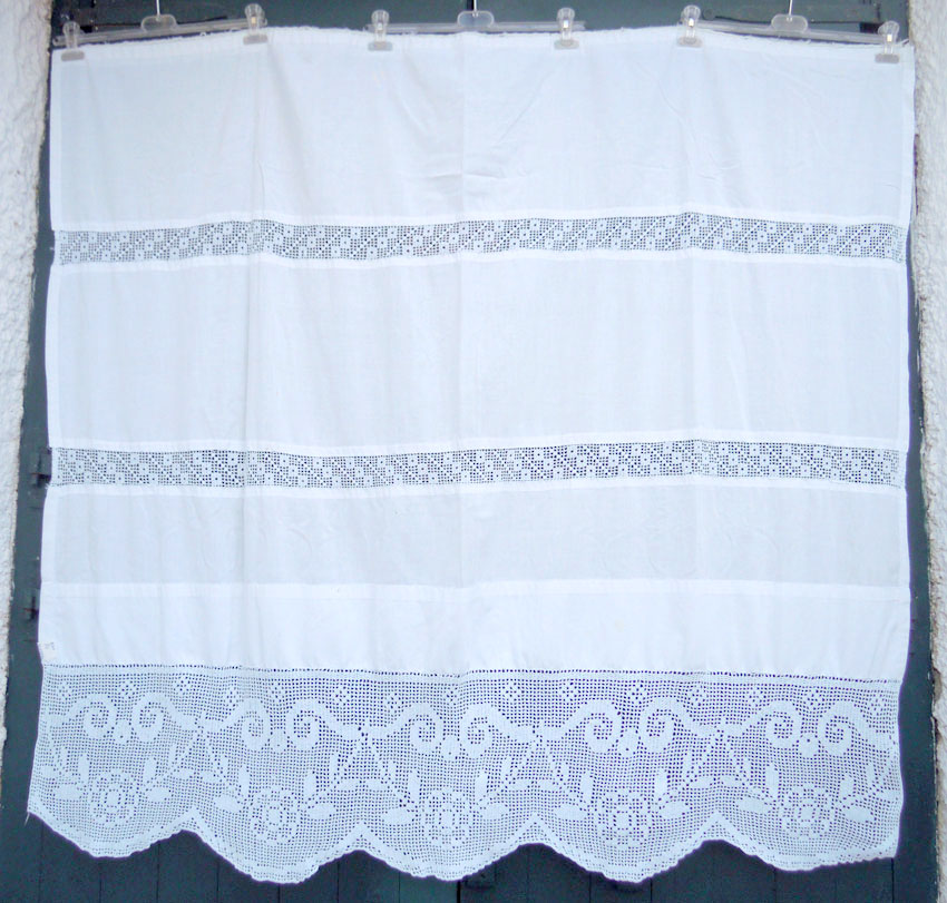 Vintage handmade curtain with crochet