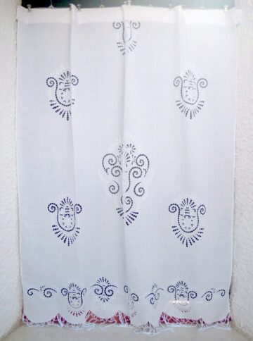 White traditional cutwork curtain