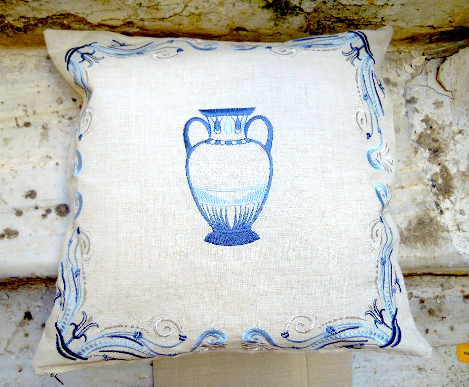 Traditional cushion cover with embroidery