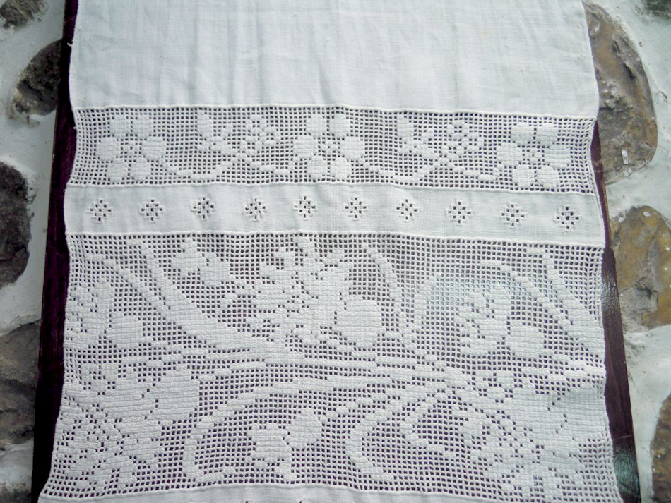 Vintage handmade linen table runner