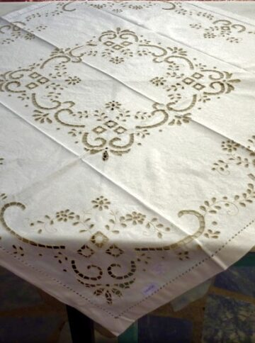 Handmade cutwork tablecloth