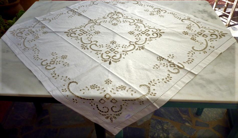 Handmade cutwork tablecloth