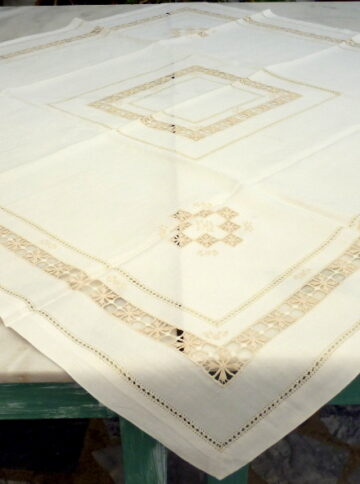 Handmade tablecloth with azure