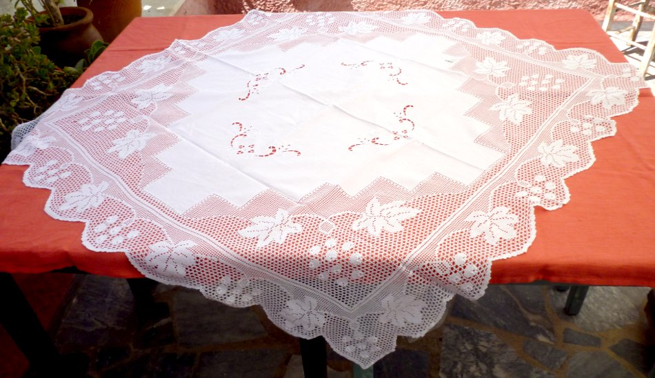 Handmade tablecloth with crochet