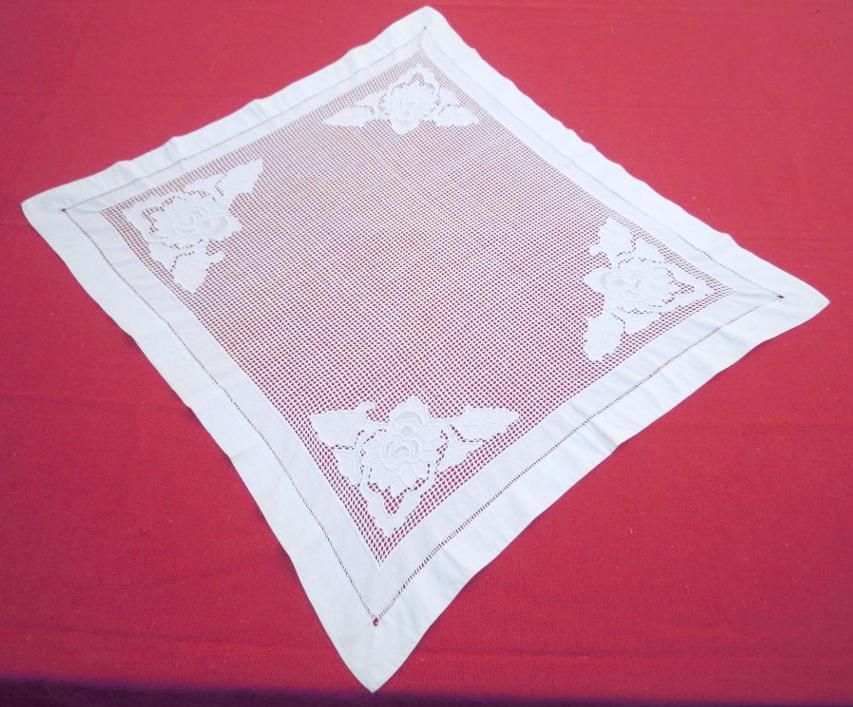 Vintage handmade square tablecloth-OOAK