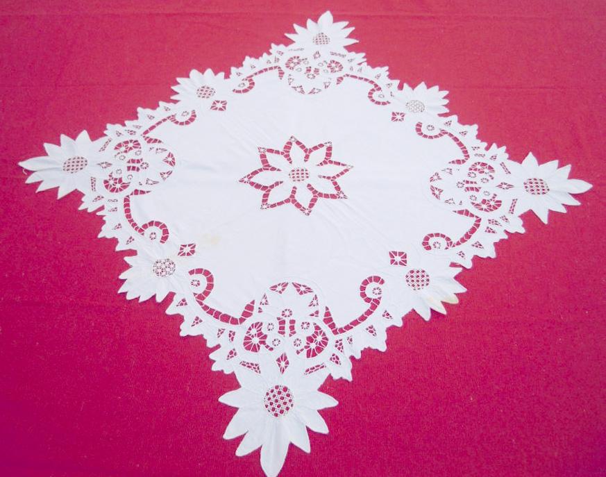 Vintage handmade cutwork square tablecloth-OOAK