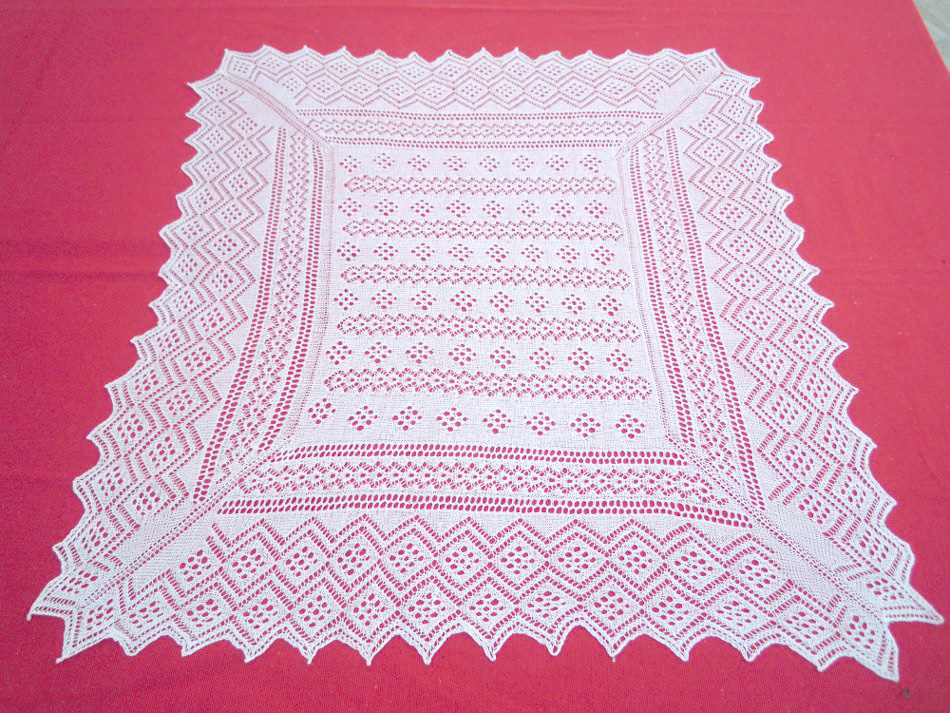 Vintage handmade square tablecloth