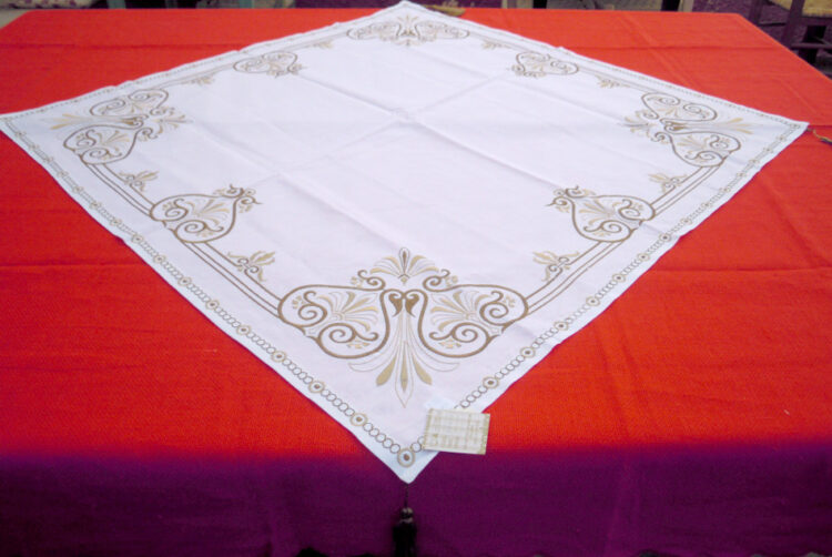 Embroidered square tablecloth