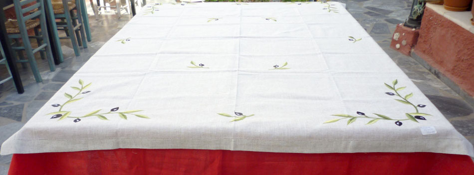 Square tableclth with azure and embroidery