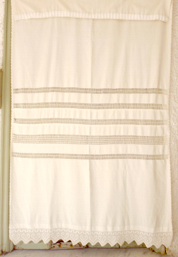 Vintage hand woven curtain with lace