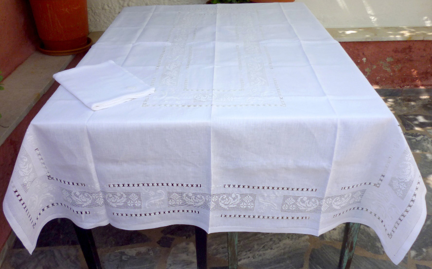 White handmade tablecloth