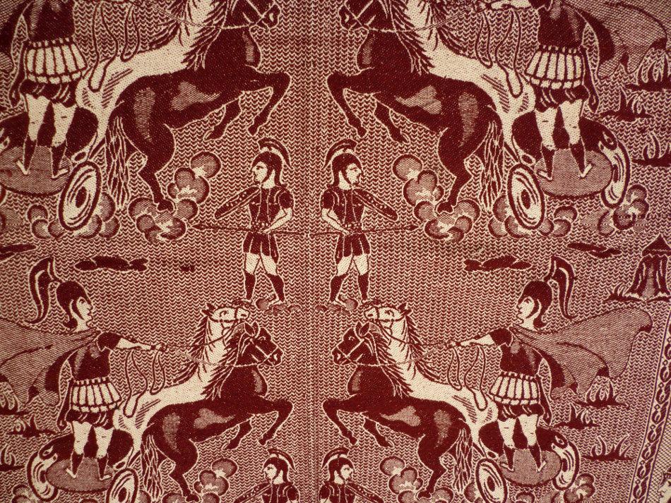 Vintage Blanket Throw With Ancient Greek Design Naxos
