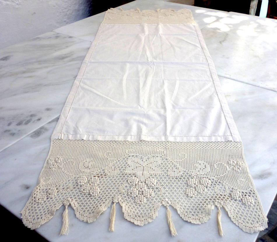 beige handmade table runner with crochet naxos art techni